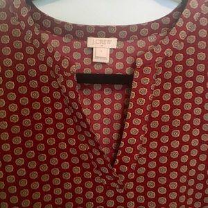 J. Crew Factory Tops - Bell Sleeve Printed Blouse in Maroon/Burgundy